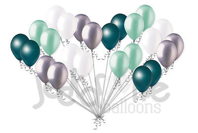24pc Teal & Seafoam Latex Balloons Party Decoration Baby Shower Wedding - Teal Balloons Decorations