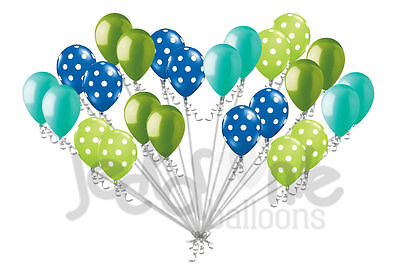 24 pc Blue & Lime Green Polka Dot Latex Balloons Party Decoration Baby Boy Frog](Green Polka Dot Balloons)