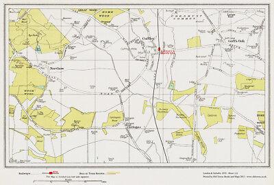 Northaw, Cuffley, Gaws Oak area Map London 1932 #133 old map repro