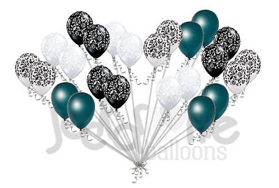 24 pc Elegant Damask Black White Clear Teal Latex Balloons Party Decoration - Teal Balloons Decorations