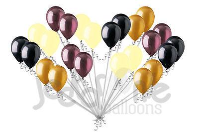 Burgundy Balloons (24 pc Elegant Black Burgundy Ivory Gold Latex Balloons Party Decoration)