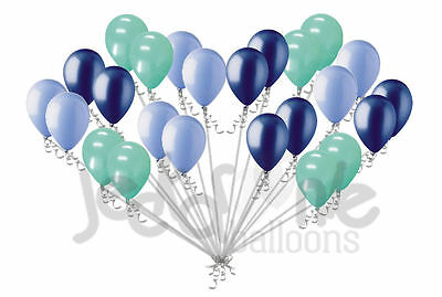 24 pc Light Navy Blue & Mint Green Latex Balloons Party Decoration Birthday Baby - Mint Green Balloons