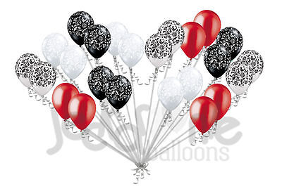 24 pc Elegant Damask Black White Clear Satin Red Latex Balloons Party Decoration - Damask Balloons