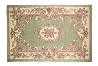 Quality Wool Oriental Traditional Flower Design Green Rug in 75 x 150 cm Carpet