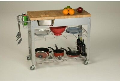 Kitchen Cart 38 in. W x 34.5 in. H x 20 in. D Framed Full Overlay with Storage