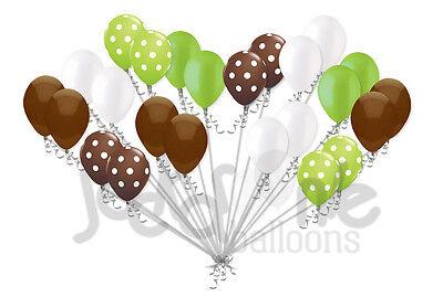 24 pc Brown & Lime Green Polka Dot Latex Balloons Party Decoration Baby Boy](Green Polka Dot Balloons)