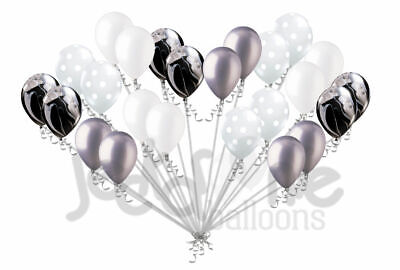 24 pc Black White Agate Clear Polka Dot Silver Latex Balloons Party Decoration - Black And White Polka Dot Decorations