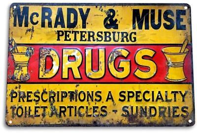 Mcrady Muse Drugs Vintage Retro Tin Metal Sign