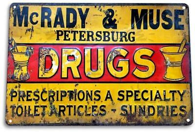 Mcrady Muse Drugs Vintage Retro Tin Metal Sign