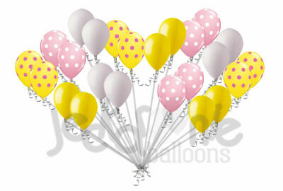 Pink Lemonade Birthday Party (24 pc Pink Lemonade Inspired Yellow Polka Dot Latex Party Balloons Birthday)
