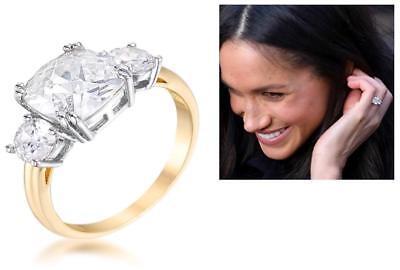 3.65 CW Yellow Gold Triple Stone Cushion Cut CZ Royal Wedding Bridal Ring Size (Gold Triple Stone)
