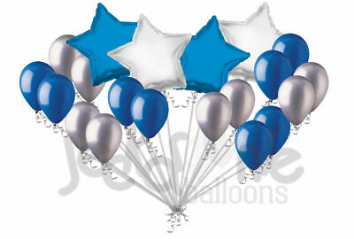 20 pc Blue & Silver Stars & Latex Balloons Party Decoration Birthday Graduation (Silver Stars Decorations)
