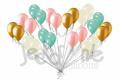 24 pc Chic Mint Coral Gold & Ivory Latex Balloons Party Decoration Birthday Baby