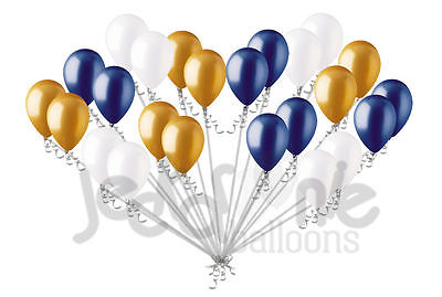 24 Balloons (24 pc Gold Navy Blue & White Latex Balloons Party Decoration Birthday Baby)