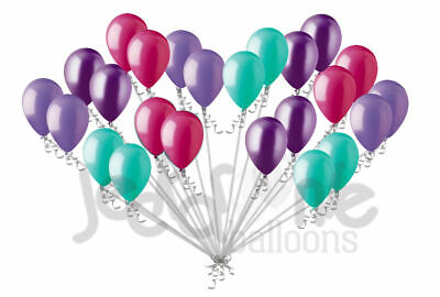 - 24 pc Aqua Hot Pink Purple Latex Party Balloons Birthday Baby Unicorn Mermaid 8