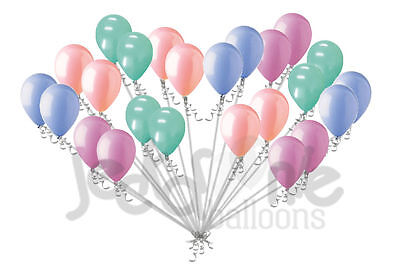 24 pc Chic Coral Mint Green Light Blue Pink Latex Balloons Party Decoration Baby - Mint Green Balloons
