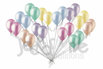 24 pc Pastel Rainbow Blue Green Pink Yellow  Latex Party Balloon Baby - Pink And Green Birthday