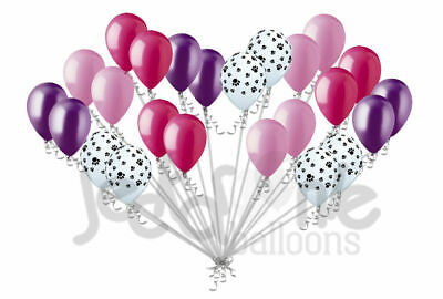 24 pc Pink Purple Paw Patrol Inspired Latex Party Balloons Birthday Boy Girl Dog