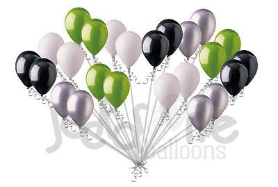24 pc Fun Black Silver Lime Green White Latex Balloons Party Decoration Birthday ()