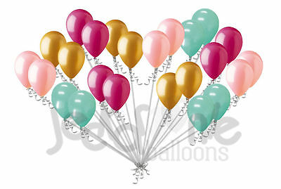 24 pc Sweet Mint Coral Gold & Rose Latex Balloons Party Decoration Birthday Baby