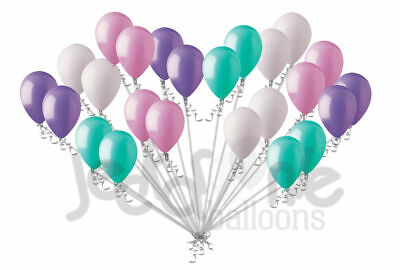 24 Balloons (24 pc Aqua Lavender Pink Latex Party Balloons Birthday Baby Unicorn Mermaid)