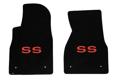 NEW! BLACK FLOOR MATS 1993-2002 Camaro Embroidered RED SS Logo Front Pair  - Red Floor
