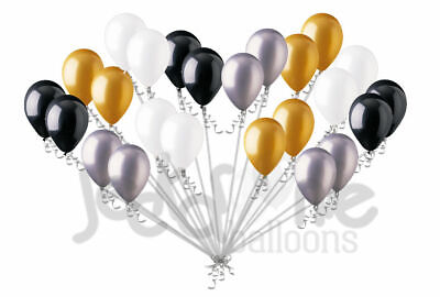 24 pc Black White Silver Gold Elegant Graduation Latex Balloons Party - Black And White Party Decor
