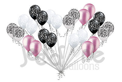 24 pc Elegant Damask Black White Clear Pink Latex Balloons Party Decoration Baby - Pink And Black Damask Party Supplies