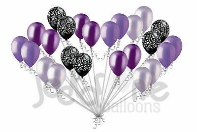 24 Stück Elegant Damast Schwarz Lavendel & Lila Latex Ballons Party Dekoration