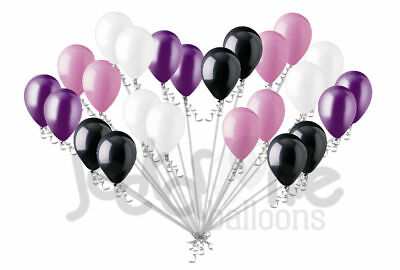 24 pc Black Purple White Pink Vampirina Latex Balloons Party Decoration Birthday (Purple And White Birthday Decorations)