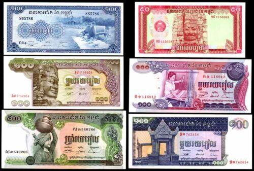 CAMBODIA Set of 6 Crisp UNC Banknotes