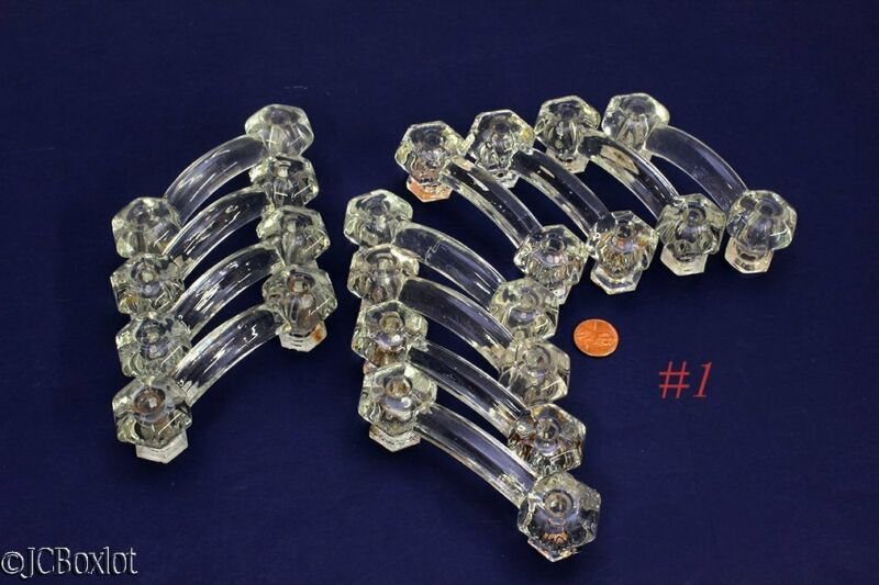 12 old antique clear GLASS HANDLES DRAWER CABINET PULLS hardware