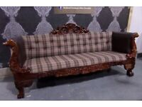 Stunning HUGE Newly Upholstered Sofa with Unique Wood Frame – Uk Delivery
