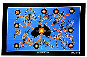 Australian-Souvenir-Aboriginal-Art-Tea-Towel-Animals-Map-Australia-Blue-O049