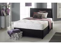 "FREE DELIVERY: Kingsize Divan Bed Base £59 ONLY, With 10"" Ambassador Full Orthopaedic Mattress £139"