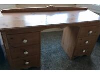Vintage M&S heavy limed pine dressing table/deskwith 6 side drawers. From 1980s. Beautifully made