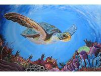 Turtle painting on canvas