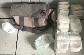 CHANGING BAG, SILVER CROSS WITH 65 NAPPIES, NEW 500G JOHNSONS TALC ONLY £13 CAN DELIVER
