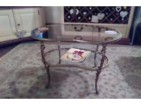 Lovely brass and glass kidney shaped coffee table
