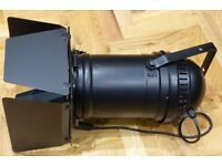 Stage light: PAR64 can with barn door + bulb, black, good condition - 4 available