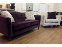 Parker Knoll - AMELIE Purple and Light Fabric SOFA SUITE (2 Seater Sofa + Large Armchair)