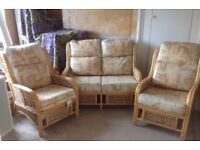 Three Piece Wicker Consertory Suite. & Fire Proof Labels on all Cushions. Excellent Condition