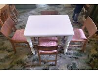 Small Solid Pine Table and 4 Four Chairs Wood Wooden Living Dining Room Kitchen Furniture White Pink