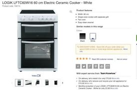 6 months use only LOGIK LFTC60W16 60cm electric ceramic cooker