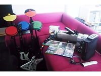 X Box 360 Bundle with The Beatles Rockband, guitar, drumkit and Kinect sensor and games
