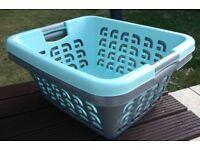 Grey and light turquoise rectangular washing baskets