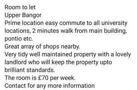 Room to rent upper bangor