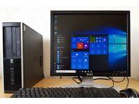Fast HP Elite PC setup,4GB DDR3 RAM,500GB HDD,Wifi,Dell HD Screen,win10 64Bit Computer/Desktop