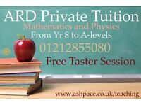 Maths & Physics Private Tuition for students of year 8 to A-levels