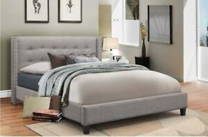 Grey Fabric Bed with Nailhead (IF274)